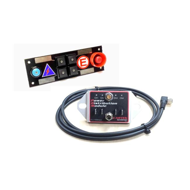 Platine interrupteurs 4 boutons noirs, 1 coupe batterie, 1 extincteur