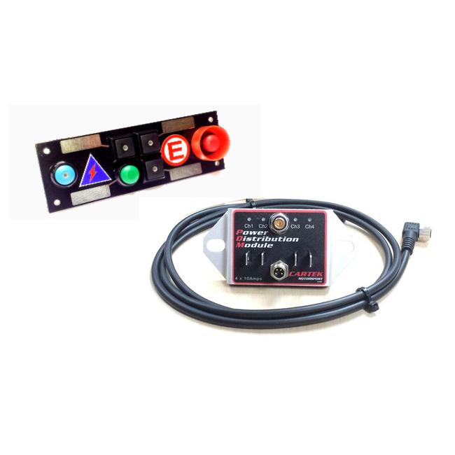 Platine interrupteurs 3 boutons noirs, 1 poussoir, 1 coupe batterie, 1 extincteur