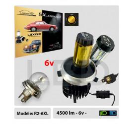 R2 BI-LED 6V, Duplo, 4500Lm, Code / Phare, Code européen, Blanc ou jaune, Culot P45T, Gamme Premium