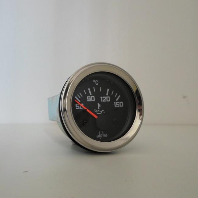 Jauge de température d'huile 12V fond noir / tour chrome